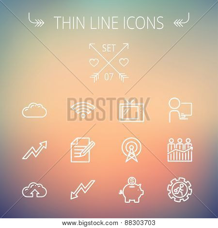 Business thin line icon set for web and mobile. Set includes- wifi, notepad, cloud arrows, antenna, money, gear icons. Modern minimalistic flat design. Vector white icon on gradient mesh background.