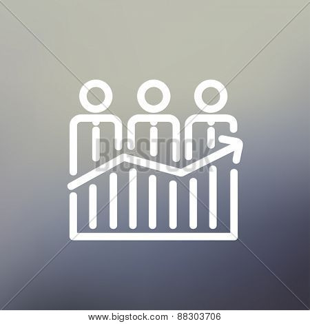 Businessmen standing on profit graph icon thin line for web and mobile, modern minimalistic flat design. Vector white icon on gradient mesh background.