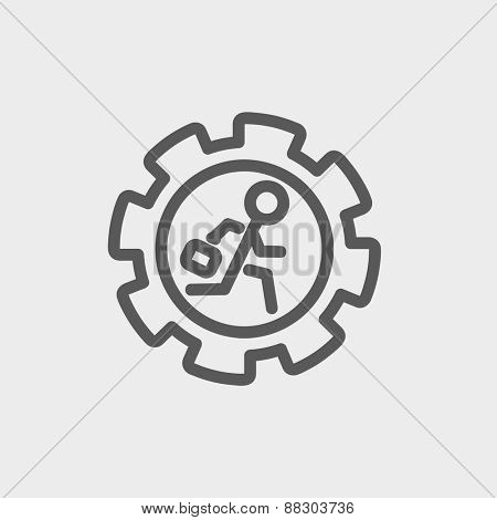 Man running isdie the gear icon thin line for web and mobile, modern minimalistic flat design. Vector dark grey icon on light grey background.