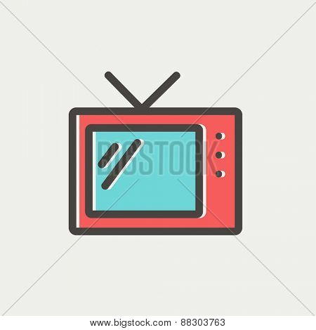 Retro television icon thin line for web and mobile, modern minimalistic flat design. Vector icon with dark grey outline and offset colour on light grey background.