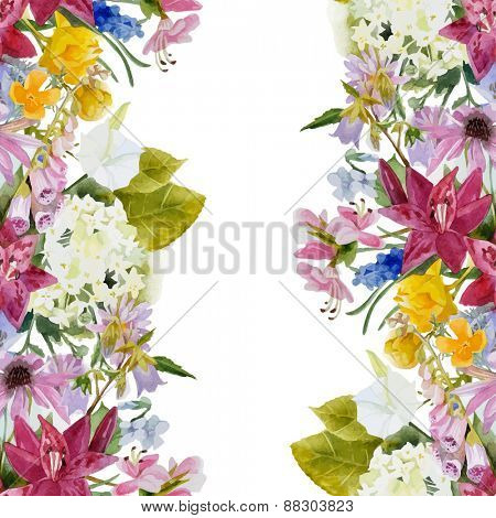 Hand drawn watercolor floral seamless border