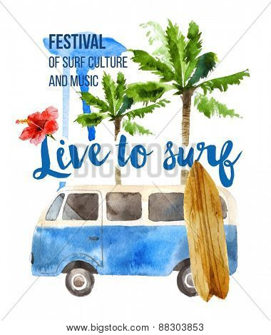 Live to surf watercolor poster in retro style