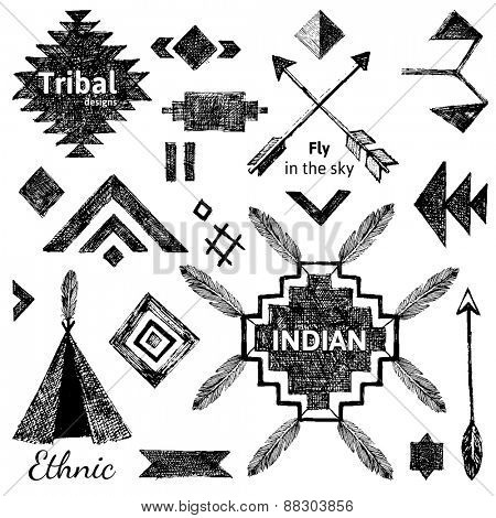 Hand drawn tribal elements set on white background