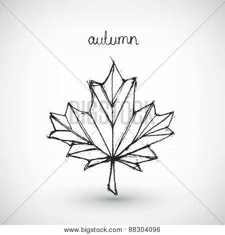 Abstract vector Illustration. Hand drawn autumn word with leaf.