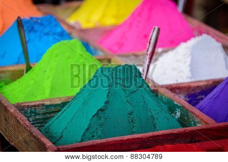 Colorful powders in Kathmandu, Nepal