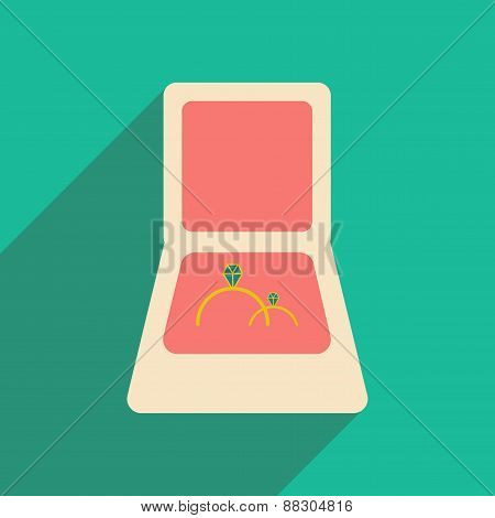 Flat with shadow icon and mobile applacation rings in box