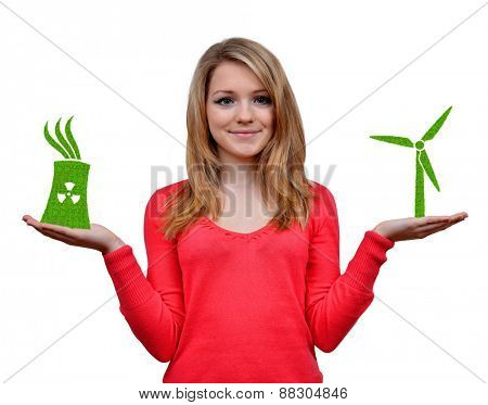 Girl holding in hands wind turbine and nuclear power plant icon.