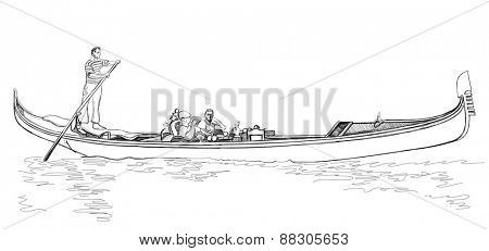 Venice - Grand Canal. Gondola floating on the water. Vector sketch