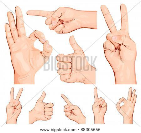 Collection of hand gestures.vector illustration.