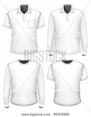 Collection of men clothes short and long sleeve. Vector illustration.