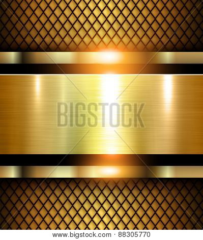 Abstract gold background, shiny and glossy vector illustration.