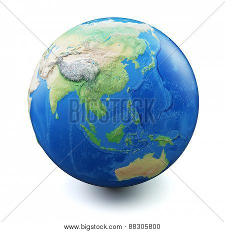 Earth isolated on white background with soft shadow. Focus on China, South East Asia, Australia, Oceania. Map and earth data used is computer generated in public domain from www.naturalearthdata.com
