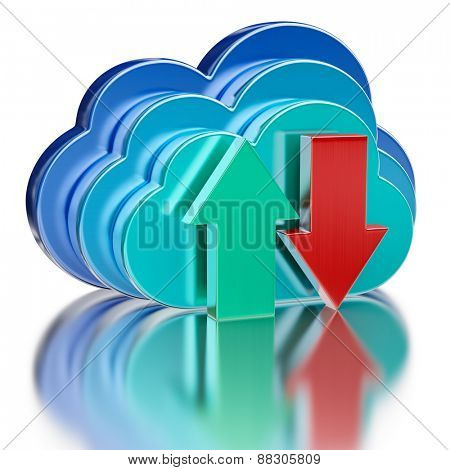 Remote database cloud computing technology storage upload download concept - 3 metal glossy cloud icons and download and upload arrows with reflection on white
