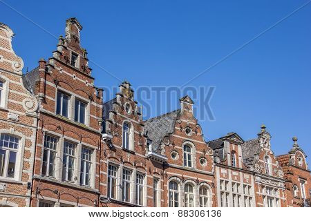 Historical Facades At The Old Market Square In Leuven