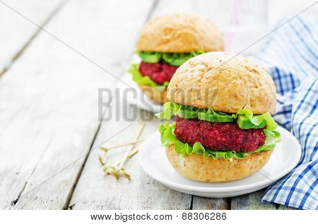 Quinoa, Beet And Chickpea Burgers