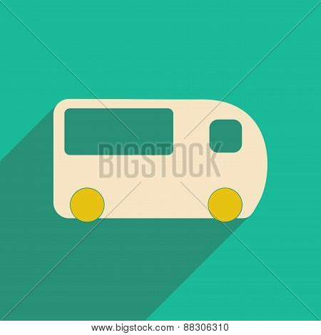 Flat with shadow icon and mobile applacation bus