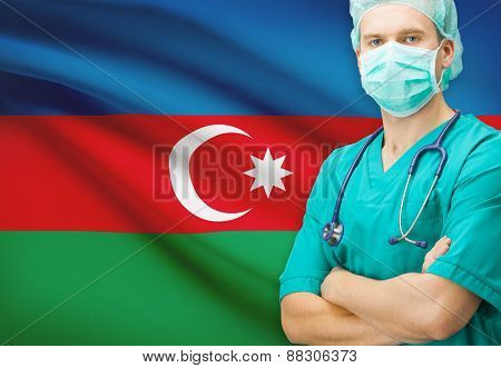 Surgeon With National Flag On Background Series - Azerbaijan