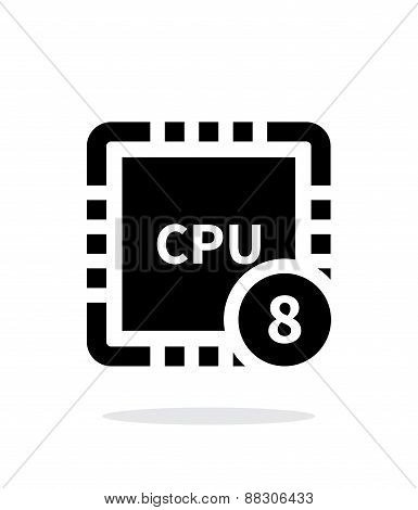 Eight Core CPU simple icon on white background.