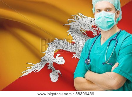 Surgeon With National Flag On Background Series - Bhutan