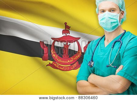 Surgeon With National Flag On Background Series - Brunei