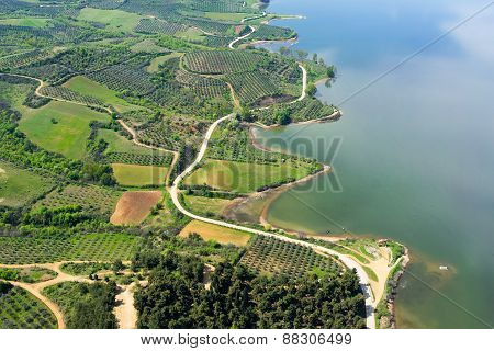 Aerial View Of The Artificial Lake Kerkini At The North Greece
