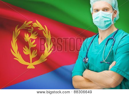 Surgeon With National Flag On Background Series - Eritrea