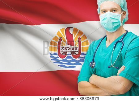 Surgeon With National Flag On Background Series - French Polynesia