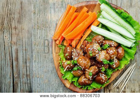 Meatballs With Teriyaki Sauce And Sesame Seeds