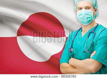 Surgeon With National Flag On Background Series - Greenland