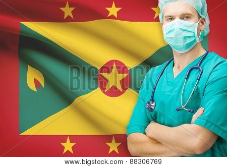 Surgeon With National Flag On Background Series - Grenada