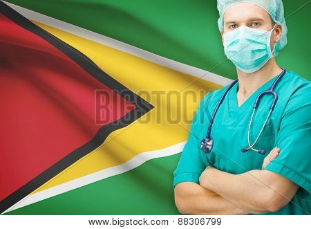 Surgeon With National Flag On Background Series - Guyana