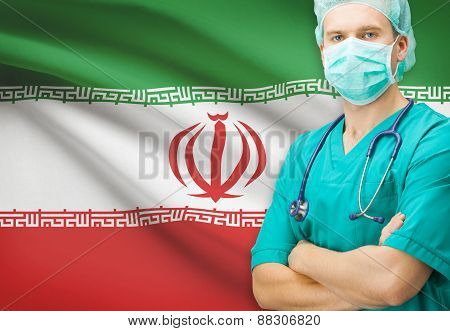 Surgeon With National Flag On Background Series - Iran
