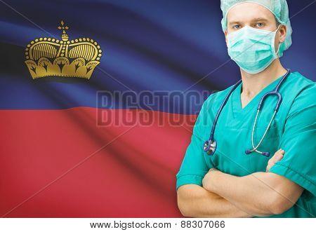 Surgeon With National Flag On Background Series - Liechtenstein