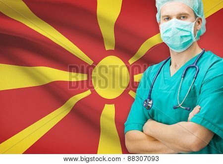 Surgeon With National Flag On Background Series - Republic Of Macedonia