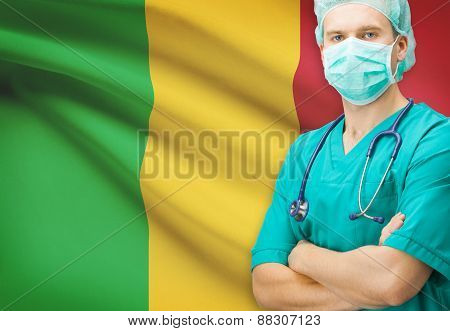 Surgeon With National Flag On Background Series - Mali