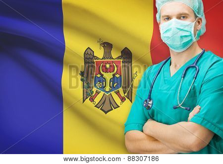 Surgeon With National Flag On Background Series - Moldova