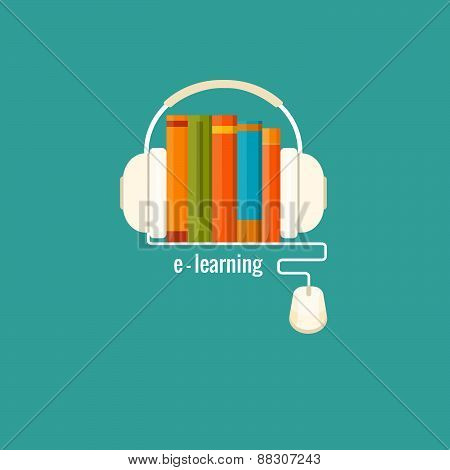 Online learning, distance education concept. Vector flat illustration