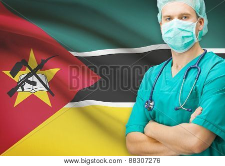 Surgeon With National Flag On Background Series - Mozambique