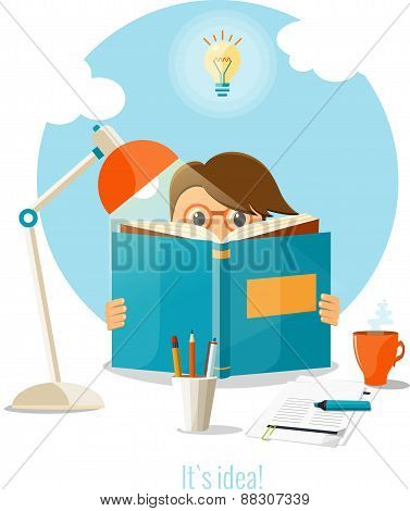 Man reading a book for creating a good idea. Business idea concept. Vector flat illustration.