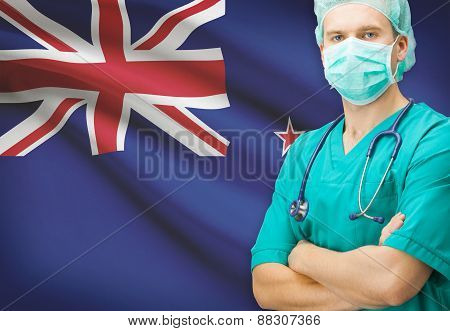Surgeon With National Flag On Background Series - New Zealand