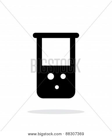 Flask with chemical reagent simple icon on white background.