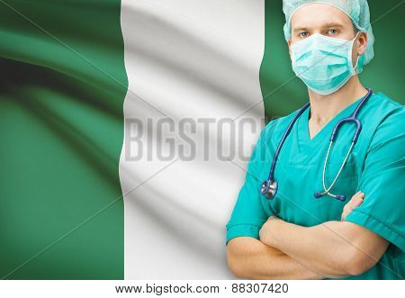 Surgeon With National Flag On Background Series - Nigeria