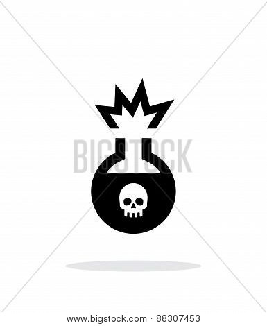 Florence flask with dangerous substance simple icon on white background.