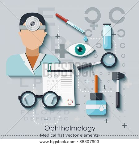 Ophthalmology set in flat style. Healthcare and medical concept. Vector illustration