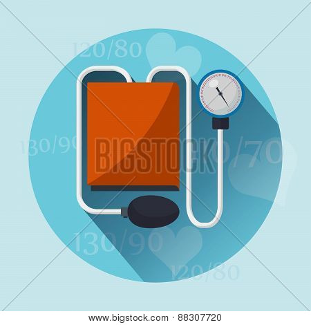 Tonometer flat icon with long shadow. Vector illustration