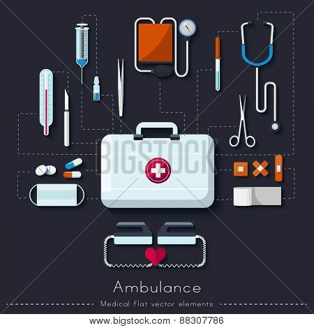 Healthcare and medical concept. Ambulance set in flat style. Vector illustration