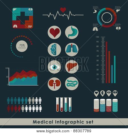 Medical Infographic set in flat style. Healthcare and medical concept. Vector illustration