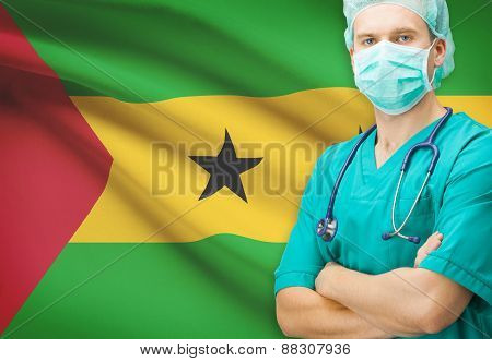 Surgeon With National Flag On Background Series - Democratic Republic Of Sao Tome And Principe