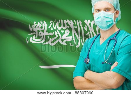 Surgeon With National Flag On Background Series - Saudi Arabia