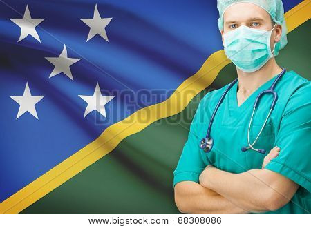 Surgeon With National Flag On Background Series - Solomon Islands